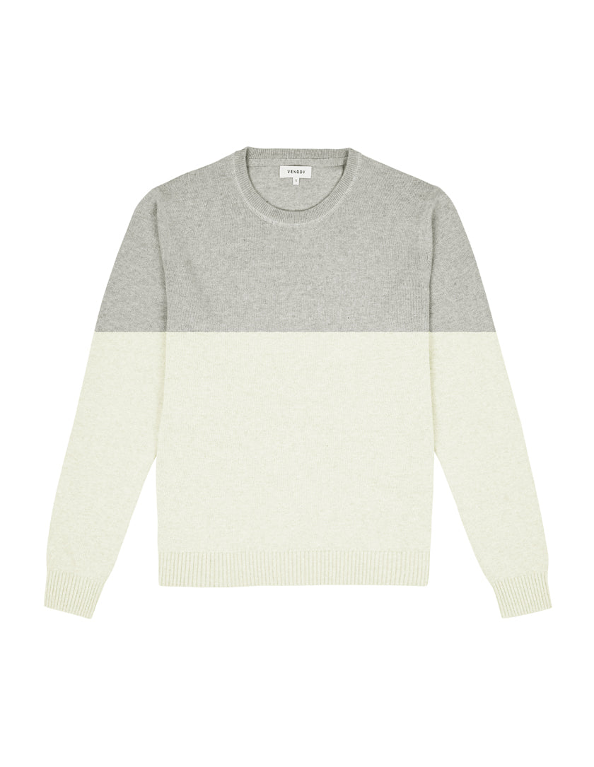 CREWNECK SWEATER - OFF WHITE/GREY MARL