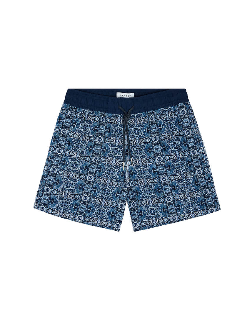 SWIM SHORT - NAVY PAISLEY