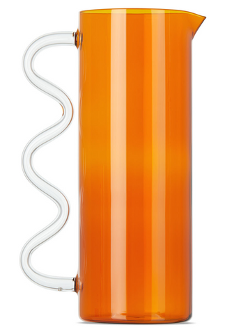 Sophie Lou Jacobsen Wave Pitcher Amber/Clear Handle