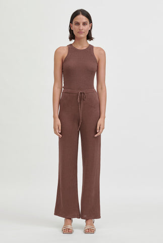 Linen Knitted Pant - Cacao