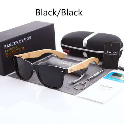 Barcur Bamboo Polarized Mens Sunglasses with Case 10 Variants