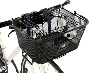 Axiom Pet Bicycle Basket with Rack and Handlebar Mounts: Black-Bicycle Baskets-Axiom-Voltaire Cycles of Verona