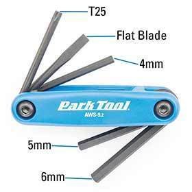 Park Tool Aws-92 Folding Screwdriver/ Hex Wrench Set 4mm 5mm 6mm Flat Blade And T25-Tools-Park Tool-Voltaire Cycles of Verona