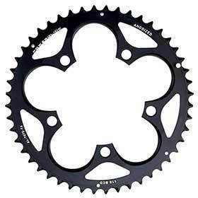Sram 50t 10 Sp Bcd 110mm 5-Bolt Outer Chainring For 34/50 Aluminum Black 116215197060-Chainrings-SRAM-Voltaire Cycles of Verona