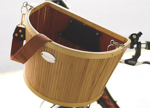 SunLite Baskets Bamboo Front Bicycle Basket with Bracket-Bicycle Baskets-Sunlite-Voltaire Cycles of Verona