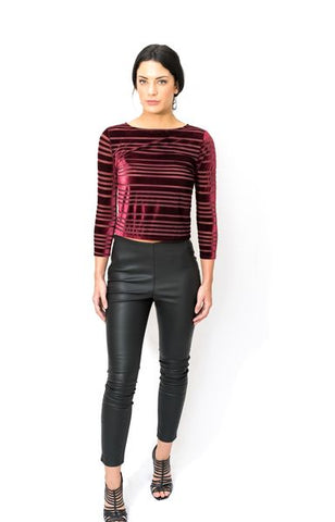 Velvet Stripe Mesh Top