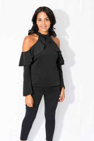 Ameile Cut Out Shoulder Top