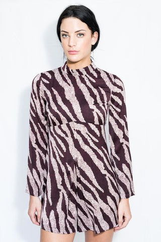 Animal Print High Neck Playsuit