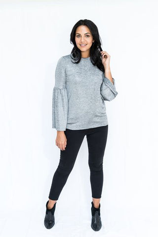 Lurex Sparkle Fluted Sleeve Top