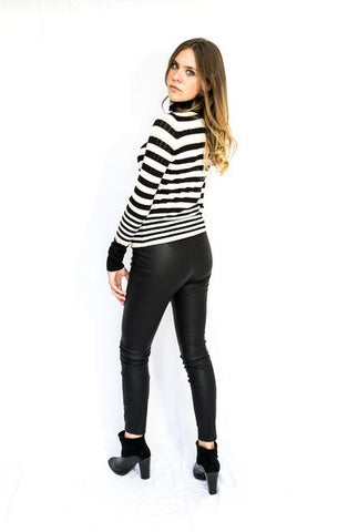 Striped Ribbed Roll Neck