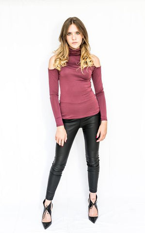 Cold Shoulder Roll Neck