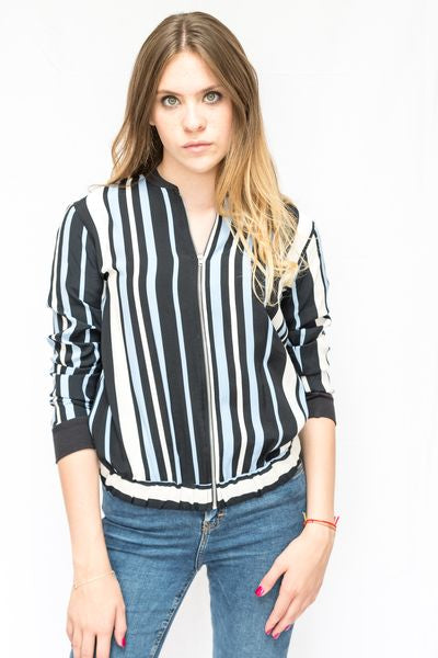 Stripe Contrast Light Weight Bomber Jacket