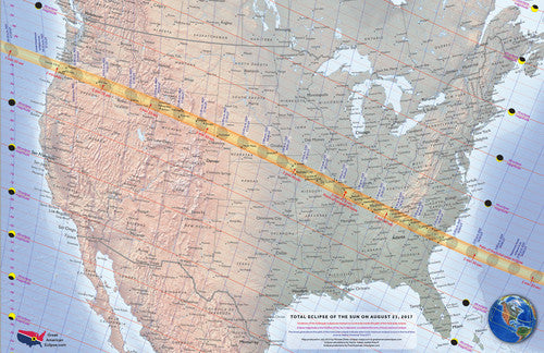 The Great American Eclipse 2017 Aluminum MAP - GAE-3