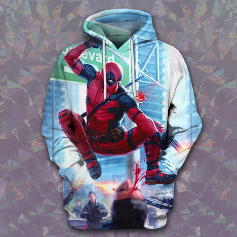 LMS-0069 All Over Print Hoodie - Deadpool
