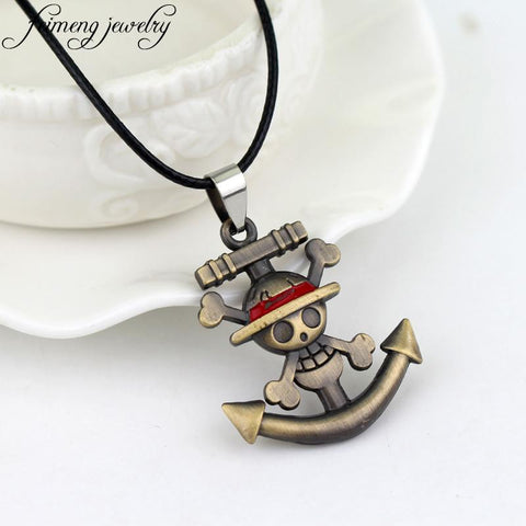One Piece Necklace - Pirate Luffy Anchor Skull
