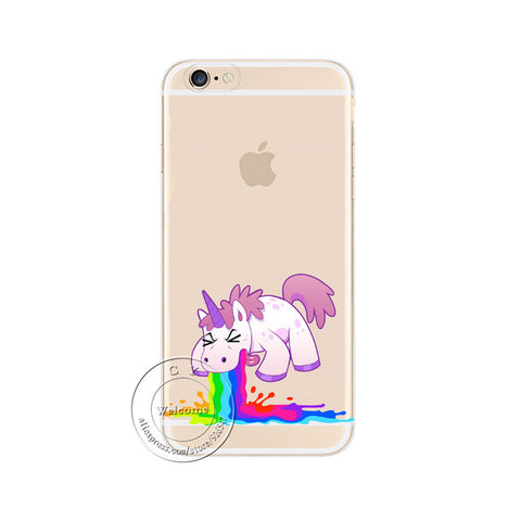 iPhone X 4 4S 5 5S SE 5C 6 6S 7 8 Plus 6SPlus Cute Rainbow Unicorn Clear Plastic Case Back Cover