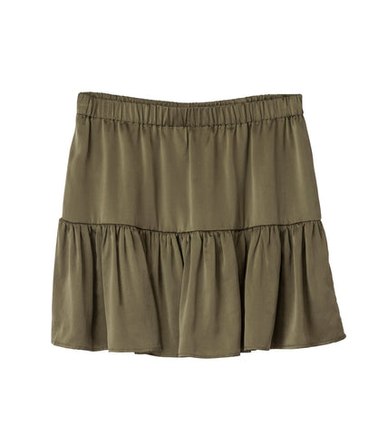 Lucille Khaki Mini Silk Skirt