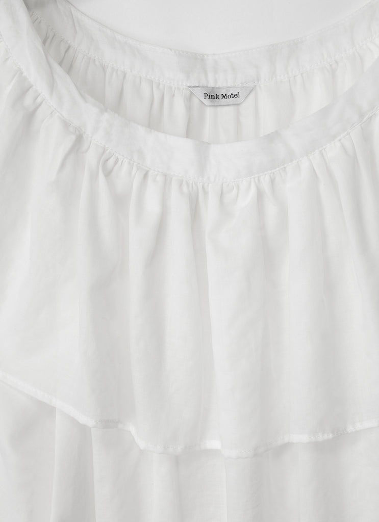 White Cotton Blouse with Ruffle