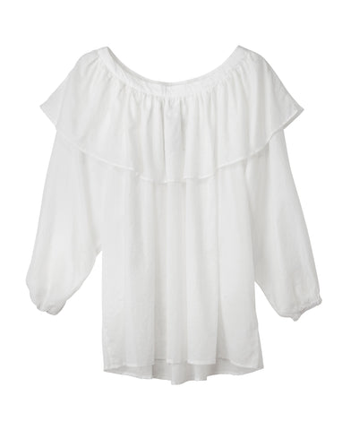 Eden White Cotton Blouse with Ruffle