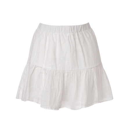 Linen White Mini skirt