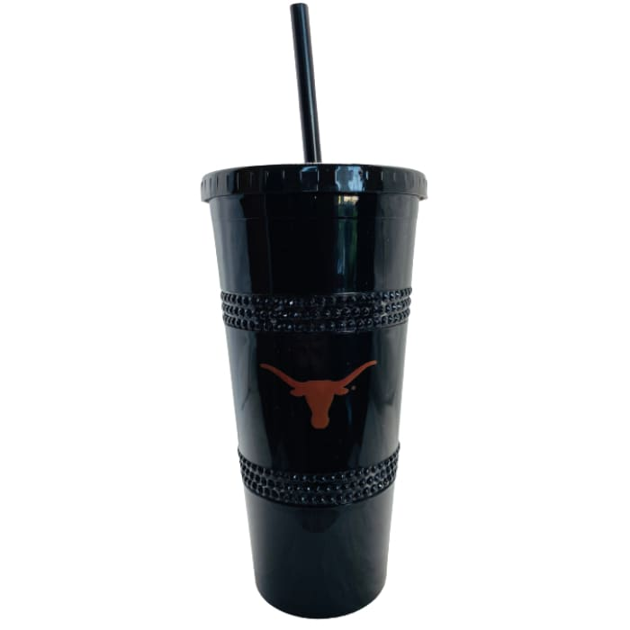 22 oz Texas Longhorns (Black) Double Bling Straw Tumbler by