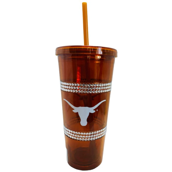 22 oz Texas Longhorns (Orange) Double Bling Straw Tumbler by