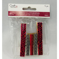 5 pc Set of Decorative Clothespins - Pink/Black