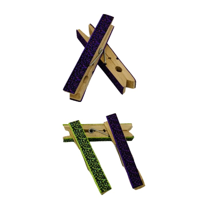 5 pc Set of Decorative Clothespins - Purple/Green