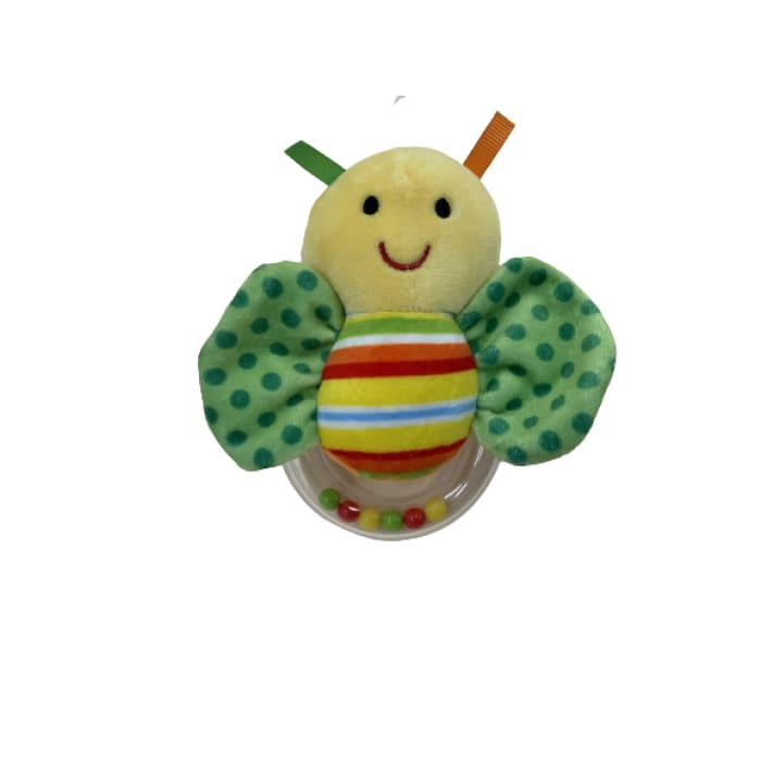 Baby Butterfly Ring Rattle - Green Polka Dot Wings