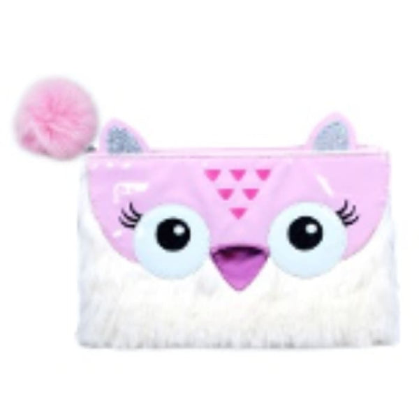 Furry Friends Pencil Case or Make Up Bag (Owl) by Pink