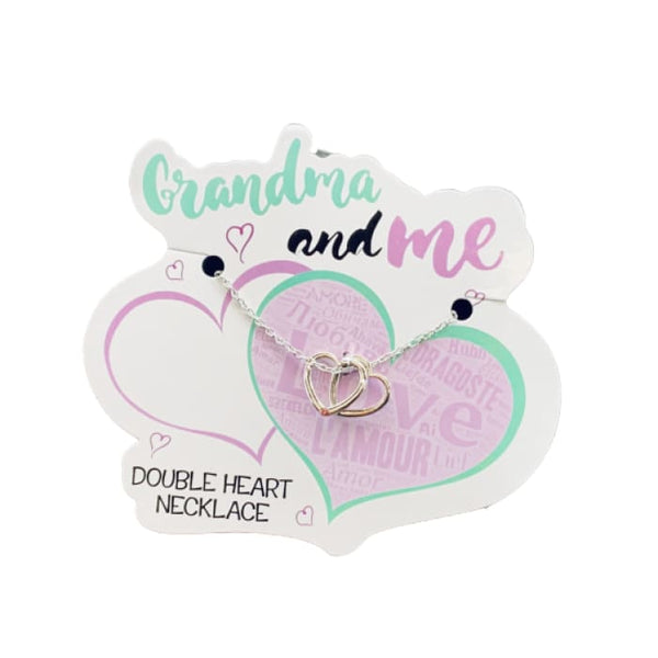 Grandma and Me Double Heart Floating Necklace
