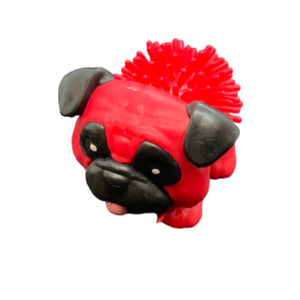 Toy Spiky Pug Dog - Red