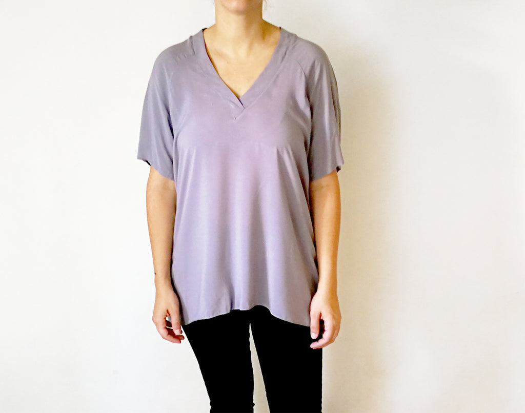 Short Sleeve V Neck Blouse
