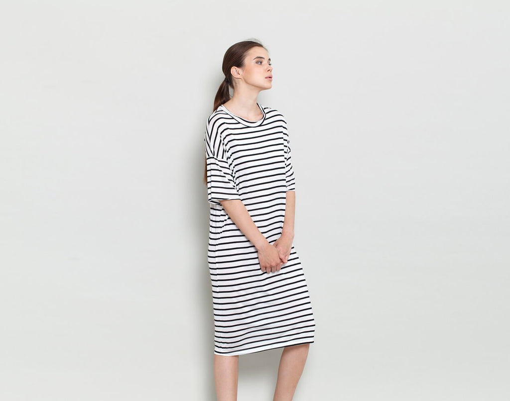 Black And White Striped Dress - KERENVEMICHAL by Michal Nir