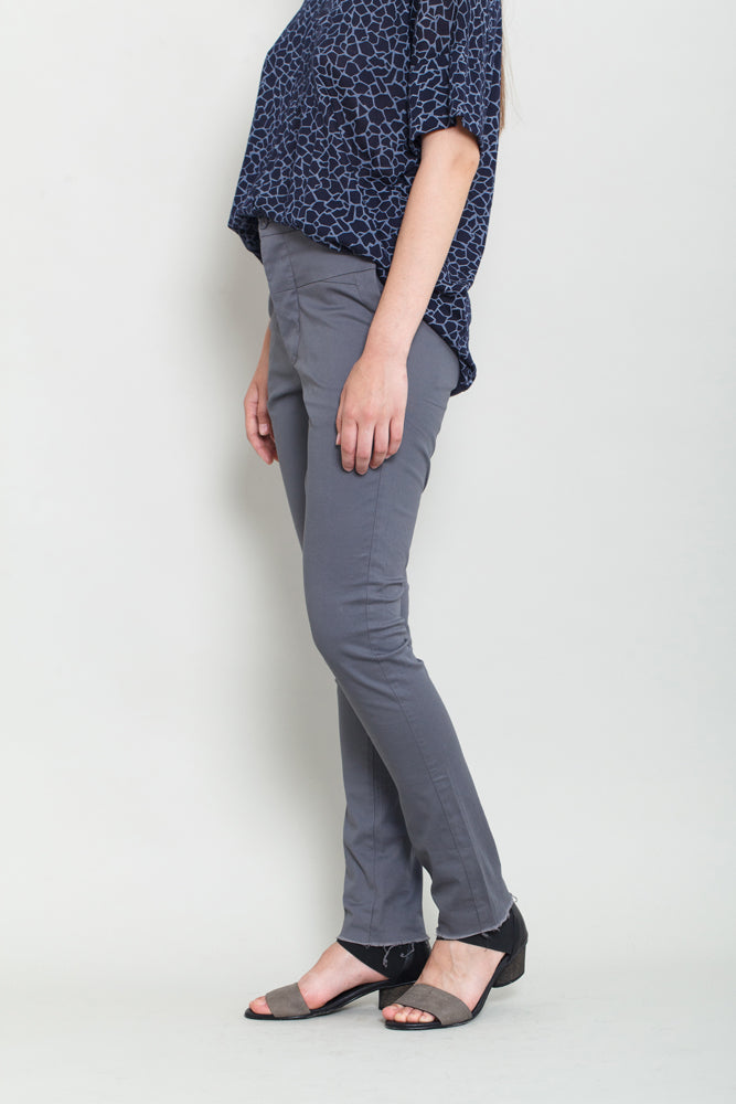 Gray Slim Fit Trousers - KERENVEMICHAL by Michal Nir
