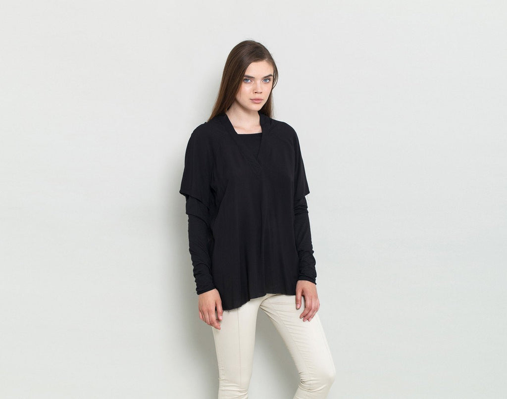 Black V Neck T Shirt - KERENVEMICHAL by Michal Nir