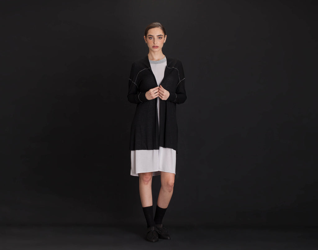 Black Long Cardigan - KERENVEMICHAL by Michal Nir
