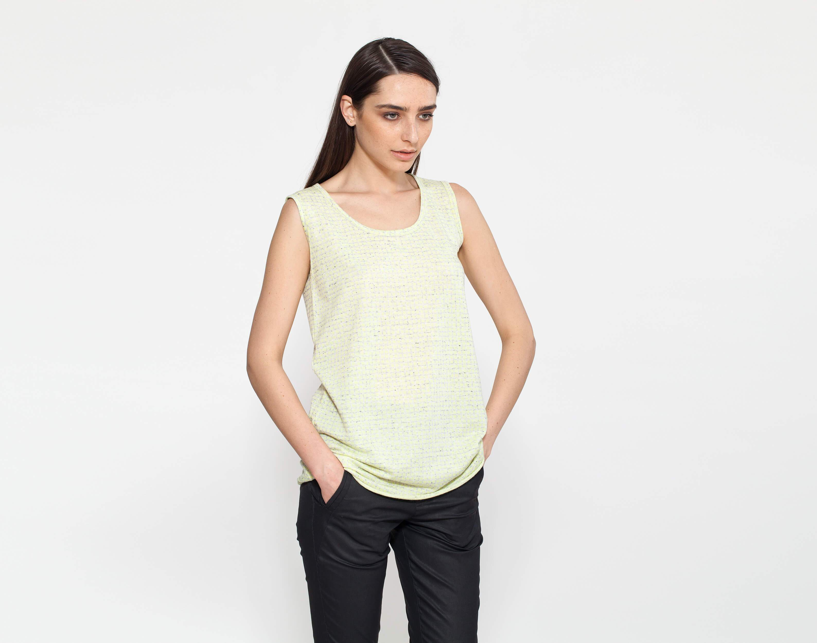 Sleeveless Yellow Tank Top