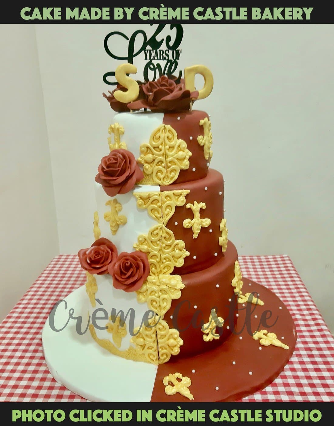 A three tier cake in the form of a saree dripping on the cake from the top. One of a kind design