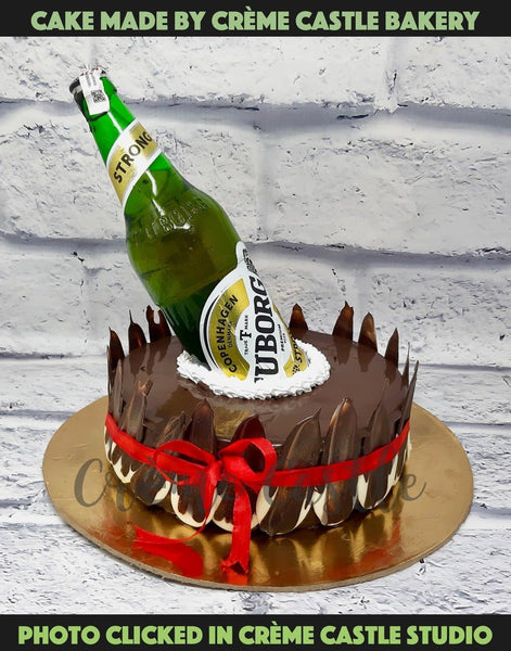A cake with beer bottle on top inside a chocolate cake for someone who loves beer. Tu beer hai. The bottle is provided by client. We do not deal in alcohol transaction. The price is also for the cake. Bottle cost is borne by the client.