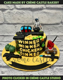 A PubG theme cake for classic mobile game lover with all the essential game elements decorated all over the cake. Truly a surprise worth giving