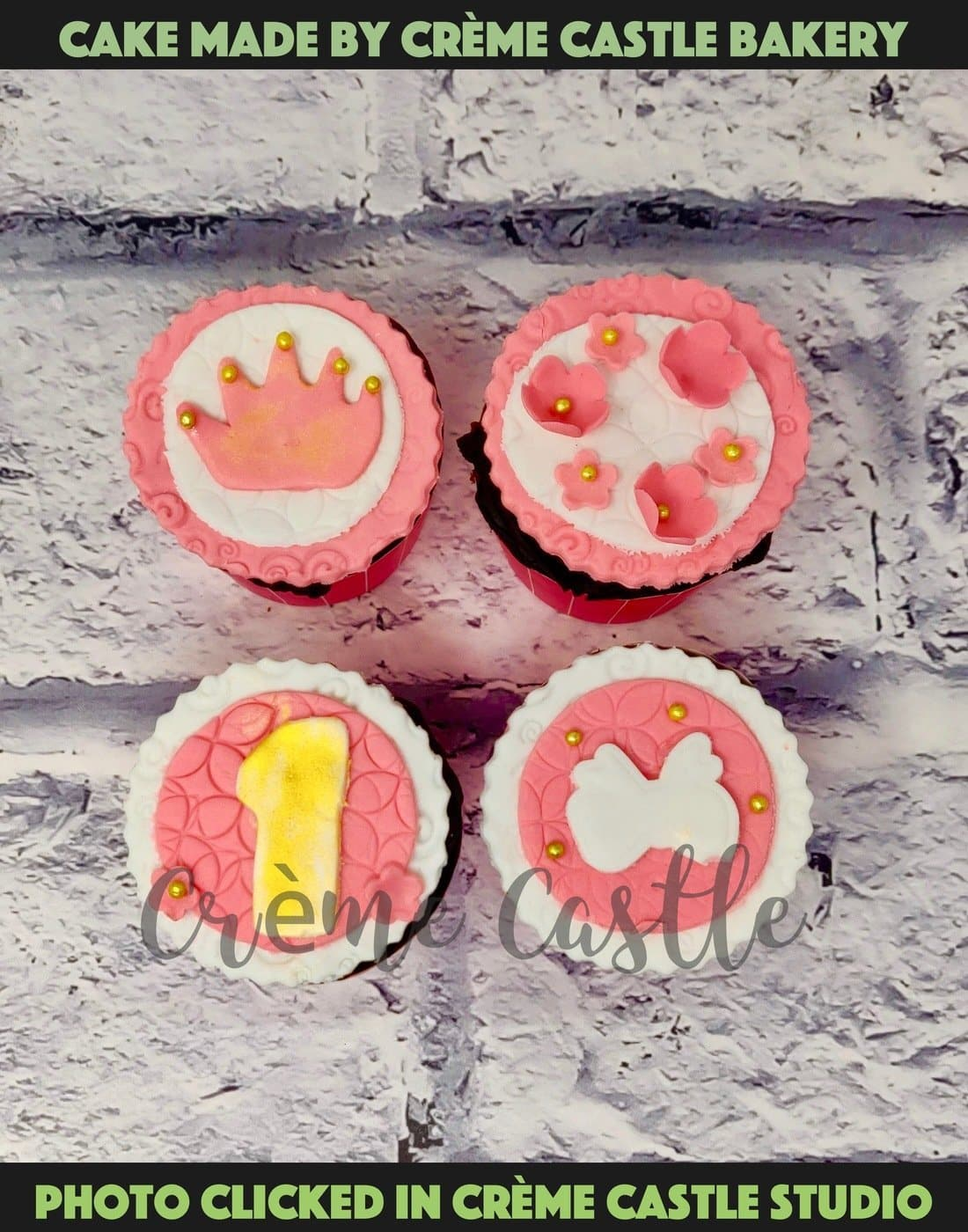 A set of 4 princess theme cupcakes with tiara, butterfly and flower theme for a baby girl's first birthday