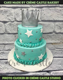Blue Butter Cream Crown Cake