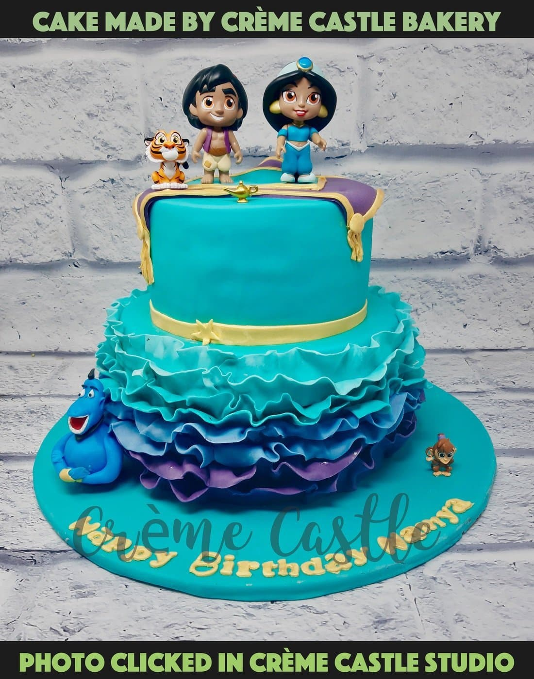 A beautiful cake in Arabian nights theme with all the characters on the cake. A cake that bring magic to your celebration
