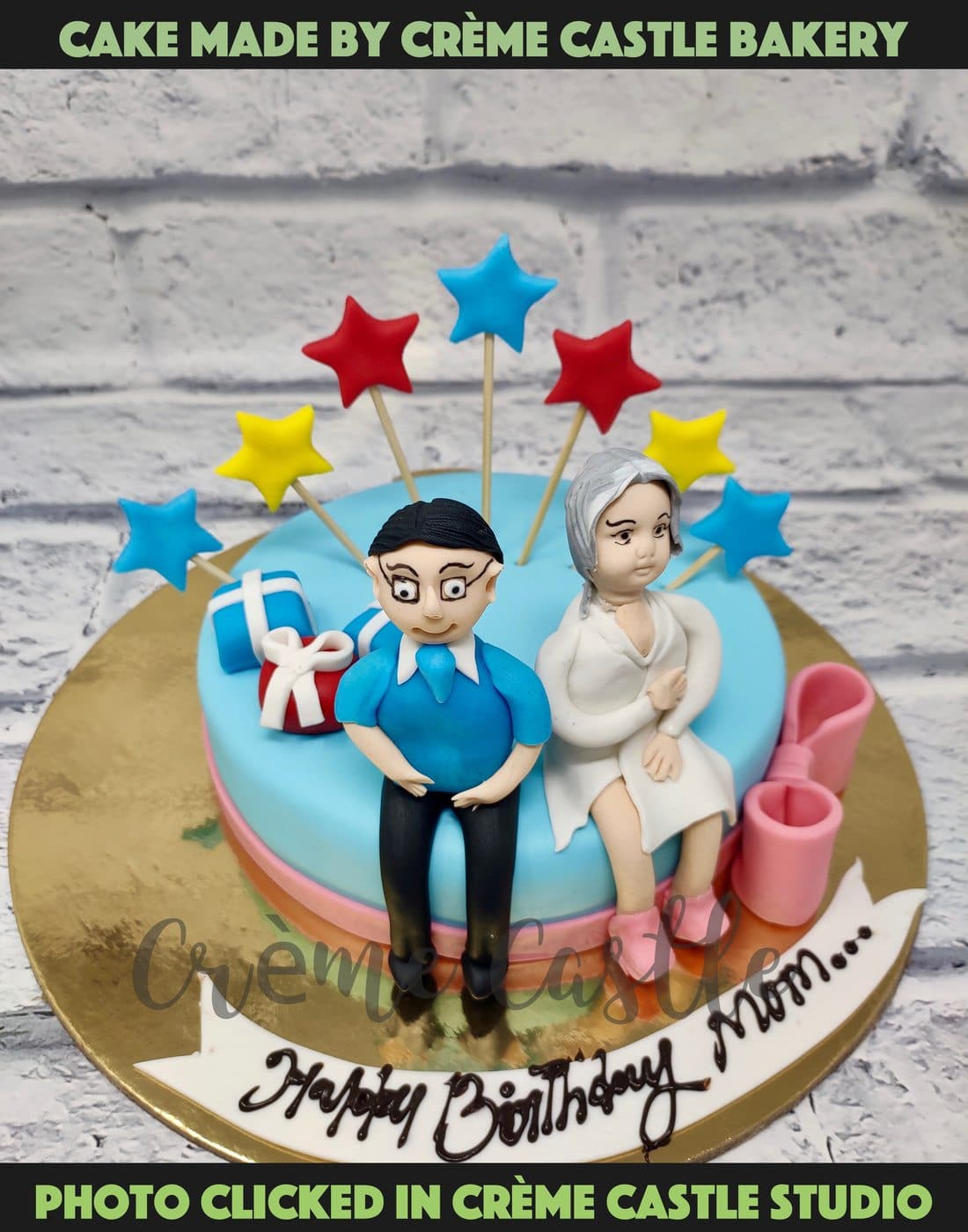 A cake for an elderly couple to celebrate their anniversary. A true symbol of love
