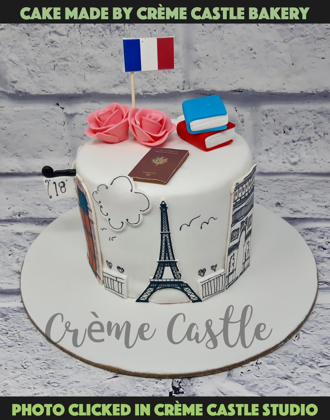 French Travel Theme Cake