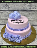 Purple 2 Tier Cream Cake
