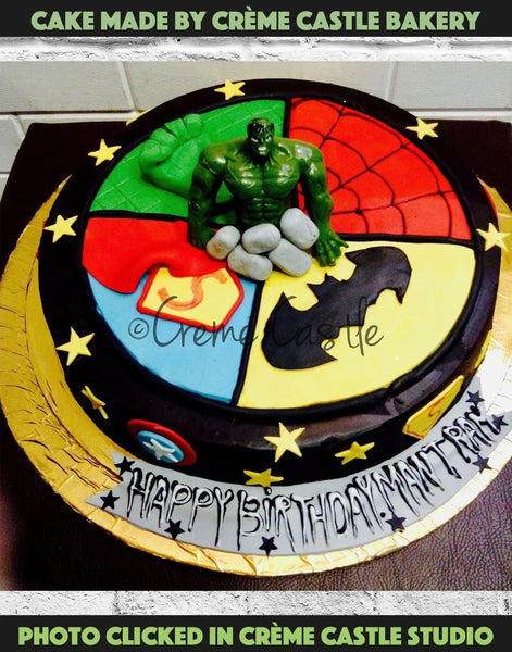 Superhero Cake with Hulk Toy - cremecastle