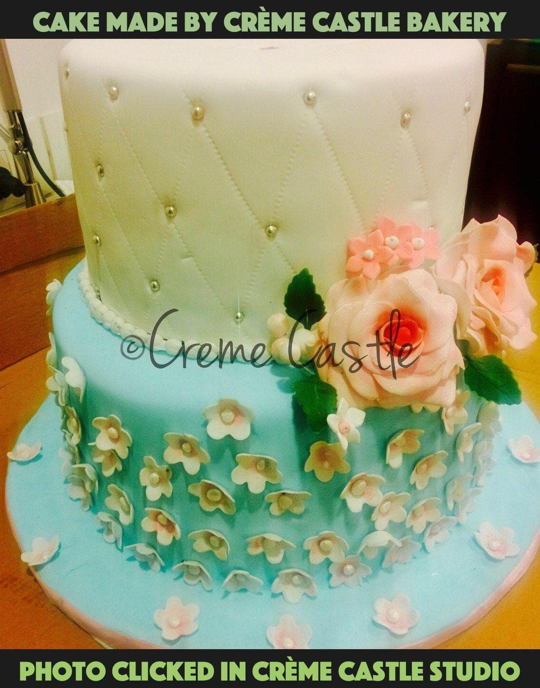 Floral cake with special flowers - cremecastle