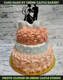 Orange Rose theme wedding cake - cremecastle